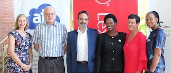 From left to right: Dr. Jeanne Mari Retief (Acting CEO LPDF), Gavin Mclachlan (outgoing board member), Digby Vickers (AJS) Nomahlubi Khwinana(outgoing chairperson), Mari Van Wyk (LexisNexis) and Tshepo Mochabang (AJS)