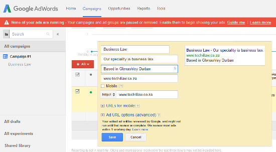 Campaing Adwords Editing page Ads