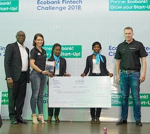 Eddy Ogbogu (Group Executive, Operations & Technology at Ecobank) with Andrea Tucker (R&D Head at e4) and Ryan Barlow (Chief Technology Officer at e4)