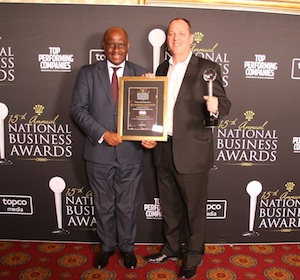 Greg Brown (right), Divisional Director of LexisNexis Data Services, receiving the award from Phumelele Motsoahae