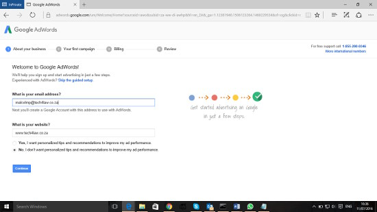 adwords registration page 1