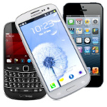Samsung s3 Blackberry 9930 and iPhone5
