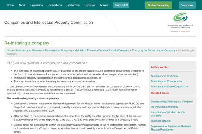 Reinstating company in conveyancing matters